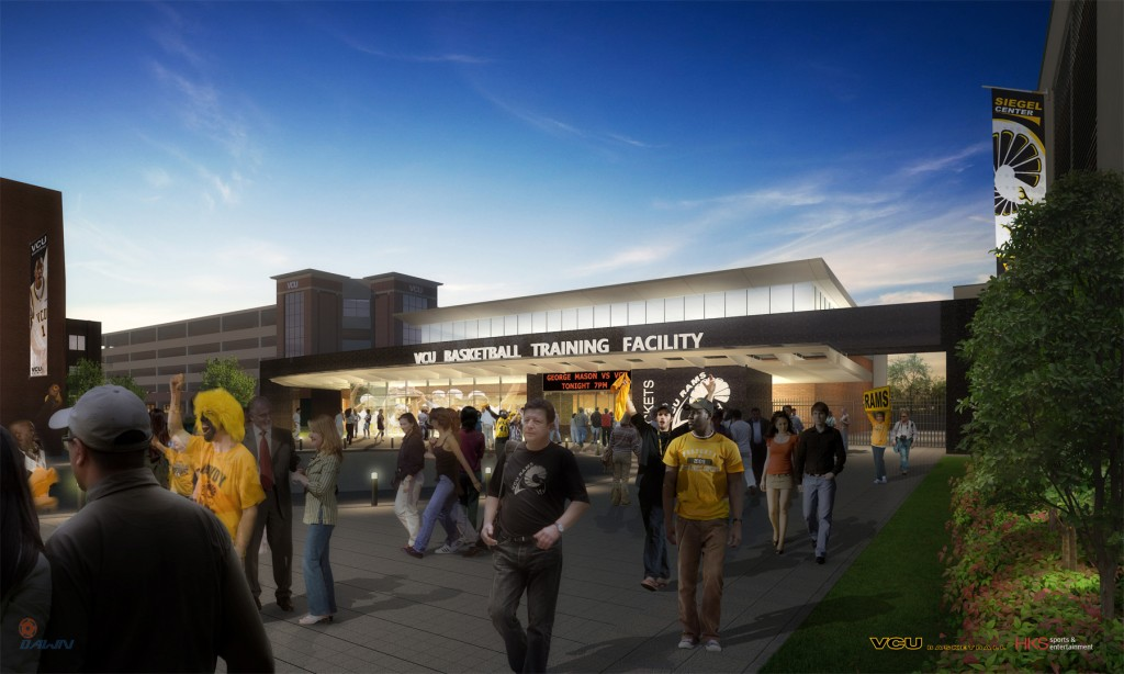 Front facade of VCU's new practice facility, facing West Broad St.