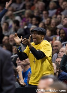 Actor/director, Spike Lee, cheers on the Rams at this year's A-10 Tournament.