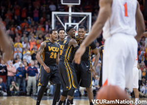 Treveon Graham reacts to hitting a game-winning 3-pointer with 1.1 seconds remaining at UVA.