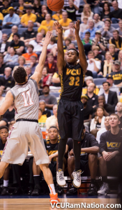Melvin Johnson connects on one of his eight three-pointers in last night's win.