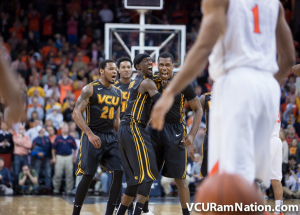 Treveon Graham celebrates after hitting one of the most memorable shots in VCU history.