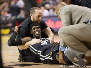 Briante Weber went down hard late with a knee injury.