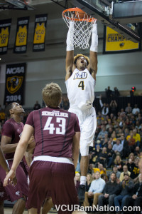 Sophomore Justin Tillman connects on two of his 27 points. He added 10 rebounds in the win.