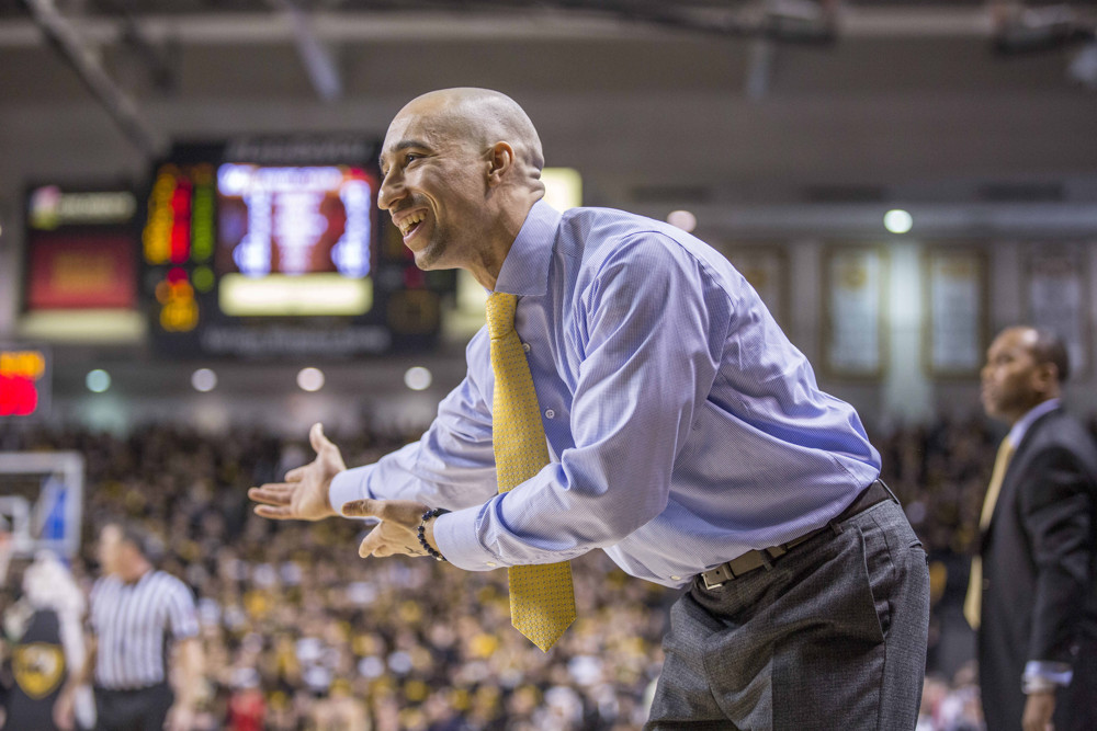 """Former Rams head coach Shaka Smart asks, """"Do we really need those recessed lights? Is it not bright enough in here already?"""""""
